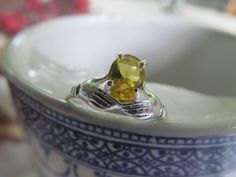 Victorian Hand Ring Sterling Silver Citrine  size 6 3/4   A symbol of faith, unity and love to be worn by someone very special. A ring with