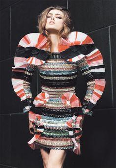 Stripes & Spirals - sculptural spiral dress with colourful, textured stripes; mixed patterns & 3D structure // Viktor & Rolf