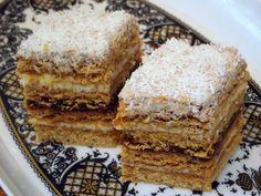 Reteta culinara Mimoza -  cu nr. 300 din categoria Prajituri. Specific Romania. Cum sa faci Mimoza - reteta cu nr. 300 Romanian Desserts, Romanian Food, Romanian Recipes, Sweets Recipes, Cookie Recipes, Polish Cake Recipe, Hungarian Cake, Cake Board, Food Cakes