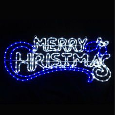 LED Light Marry Chrstmas Sign Flashing Blue White Hanging Plaque Xmas Display