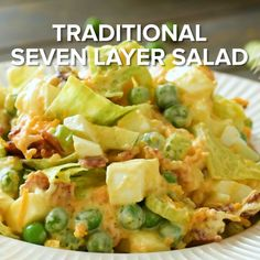 Traditional 7 Layer Salad Perfect Make Ahead Salad or Side Dish for Holidays and Potlucks! This Seven Layer Salad Recipe has Chopped Lettuce Peas Celery Onions Bacon and Cheese! Celery Recipes, Chef Salad Recipes, Lettuce Salad Recipes, Healthy Salad Recipes, Cooking Recipes, Salad Recipes Video, Make Ahead Salads, Healthy Meals For Two, Easy Salads