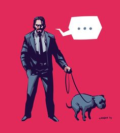 Because John Wick also takes his dog to take a shit. #johnwick #illustration #dog