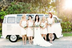 #kombi #bridesmaids | Hastings Point Wedding from Angie Branch Photography  Read more - http://www.stylemepretty.com/australia-weddings/2013/10/30/hastings-point-wedding-from-angie-branch-photography/