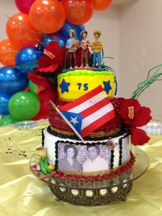 Puerto Rico Birthday Cake by Wanda's Decorations Sebring, FL 70th Birthday Parties, Themed Birthday Cakes, Dad Birthday, Themed Cakes, Puerto Rico, Caribbean Party, Quince Cakes, Flag Cake, Adult Party Themes