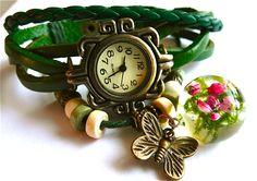 Zegarek z wrzosem na soczystym mchu w Grol Jewellery na DaWanda.com