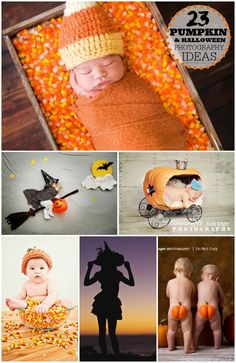 23 Halloween and Pumpkin photography ideas for taking creative pictures with candy corns and pumpkins.