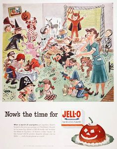 1952 Jello Gelatin Dessert original vintage advertisement. With a halloween scene illustrated by husband and wife team Stan and Jan Berenstain. Size 10 by 13 inches. Price $50.00 worldwide delivery included.