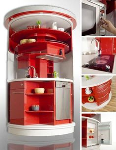 All-in-one rotating kitchen. Love it, but I'd put in a small convection oven instead of the microwave.