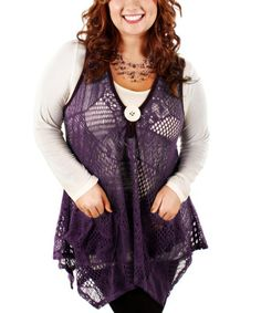 Another great find on #zulily! Purple Crocheted Handkerchief Vest - Plus by Lily #zulilyfinds