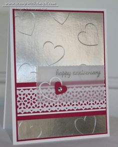 SU Hearts a Flutter, Express Yourself(H) - sub a Valentines type sentiment, Delicate Details Lace Tape, Small Heart Punch, Silver and White embossed