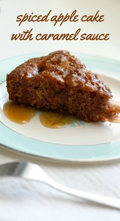 A moist and flavorful vegan cake recipe - spiced apple cake with a sweet caramel sauce on top. #vegan #apples