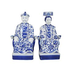 Pre-Owned Large Porcelain Asian Ancestors Pair (1,380 CAD) ❤ liked on Polyvore featuring home, home decor, decorative accessories, dragon figurines, asian figurines, dragon figure, porcelain figurines and oriental home decor