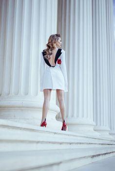 Rochie- Sacou | Laura Cosoi Up Hairstyles, White Dress, Ballet Skirt, Skirts, Dresses, Fashion, Vestidos, Moda, Skirt