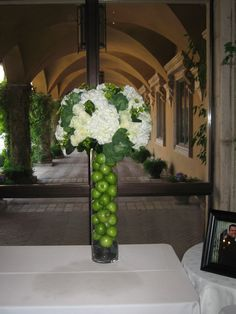 Tall Green Apple & White Hydrangea Wedding & Event Centerpiece by Blume Events www.idoaz.com