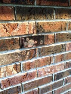 A brick wall becomes a children's story come to life! Draw a mouse, a fairy, or another cartoon peeking out from one of the bricks to add a little storytime magic. Photo: David Zinn