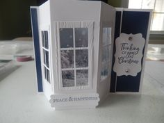 """I used the """"Bay window"""" fold to make this real bay window card. Fancy Fold Cards, Folded Cards, Paper Crafts, Hand Crafts, Window Cards, 3d Cards, Card Tutorials, Bay Window, Creative Cards"""