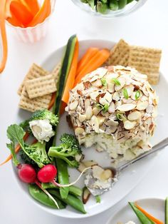 Lightened Up Green Onion and Almond Cheese Ball | foodiecrush.com