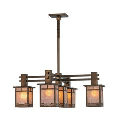36 Inch W Roylance 5 Lt Chandelier Inspired by the Arts & Crafts Movement, the Roylancechandelier features five lanterns with a handsomegeometric trim, framed in Antique Copper finished metalwith Silv
