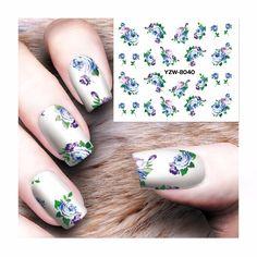 0.1$  Watch now - ZKO 1 Sheet Nail Art Water Transfer Totem Flower Design Nail Sticker Watermark Decals DIY Beauty Nail Decoration Wraps Tools   #magazine