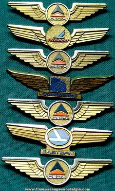 Old Airlines Advertising Souvenir Wings Pins. If you own them, wear them to the next travel themed occasion.