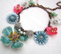 Colorful Pastel Bridal Statement Necklace by AllThingsTinsel