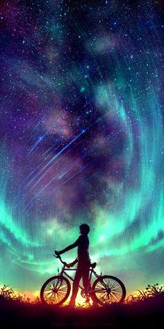 Said the Stars by Wenqing Yan [Yuumei art] Exposure Photography, Art Photography, Night Photography, Landscape Photography, Yuumei Art, Wow Art, Anime Scenery, Belle Photo, Night Skies