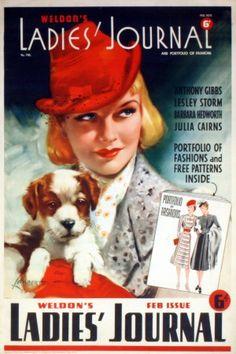 Ladies Journal Puppy, 1939 - original vintage poster by Lambert listed on AntikBar.co.uk