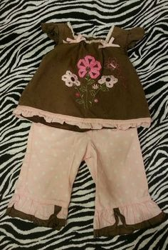 Starting Out Baby Toddler Girls Brown Pink Ribbon Flower Dots Outfit ~ 12 M ~EUC $5