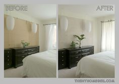 Before and After of Whitewashed Bamboo Blinds in Bedroom whitewashed bamboo blinds tutorial diy wall art decor natural