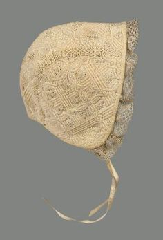Infant's cap, probably The Netherlands, century. Cream white cotton, interlacing all-over quilted pattern with details in punched holes and French knots. Bobbin lace around face, two narrow ribbon ties. 18th Century Clothing, 18th Century Fashion, Antique Clothing, Historical Clothing, Baby Bonnets, Bobbin Lace, Museum Of Fine Arts, Vintage Children, Kids Wear
