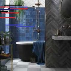 Tile inspiration for Pantone's 2020 Color of the Year Classic Blue. It bridges the divide between masculine and feminine. Funky Bathroom, Bathroom Cost, Small Bathroom, Bathrooms, Light Wood Cabinets, Simple Bathroom Designs, Bathroom Design Inspiration, Provence Style, Hallway Designs