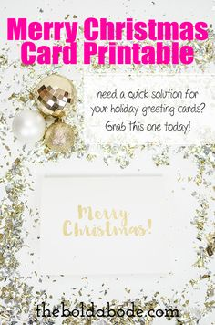 """""""Gold Foil"""" Merry Christmas Card Printable - need a quick solution for your holiday greeting cards? Grab this one today!"""