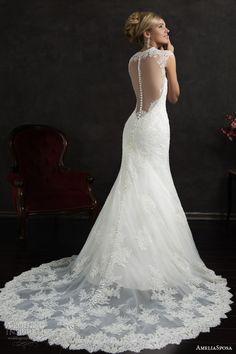 amelia sposa 2015 bridal valensia cap sleeve lace trumpet wedding dress back view train