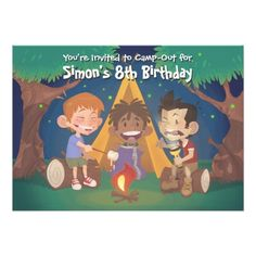 Camping Birthday Party Invitations Boys Camping Birthday Party Card