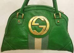 Rare Authentic Gucci Blondie Green Leather Bowler Bag Gold GG Tom Ford Satchel (eBay Link)