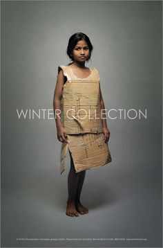 It's the winter months that takes its most violent toll on India's poor. After long hot summers, the poor are really not ready for the extreme cold that follows. On top of this, street children and beggars are a blind spot we rarely acknowledge. So what we did was dress up street kids in their usual everyday clothes (made from discarded newspapers, sacking, cardboard) and photographed them walking the ramp. This juxtaposition of the usual in an unusual setting, startled and woke people up…