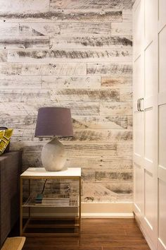 Stikwood…peel and stick to create an accent wall. Our palest finish, the white reclaimed weathered wood planks infuse any room with light and elegance without being taken too seriously. Source by jlwintz Laminate Flooring On Walls, Wood Plank Walls, Wood Planks, Tile Flooring, Wood Accent Walls, Wall Wood, Stick Wood Wall, White Wood Walls, Wood Plank Wallpaper