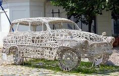 A doily car?  It's in Prague, CR.  Hope they didn't stiffen it with sugar water.