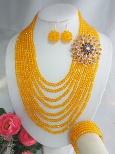W-2002 Fashion Nigerian African Wedding Beads Jewelry Set,Crystal Necklace Bracelet And Earring