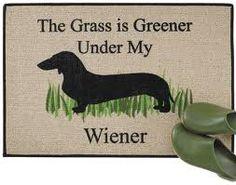 hilarious doormat--LOVE MY ZAHARA..silver dapple weiner dog