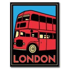 Affiche d'art déco de Londres Cartes Postales