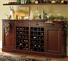 Modular Bar Buffet With 2 Wine Grid Bases & 2 Cabinets