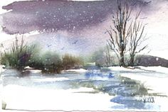 snow watercolor paintings | Watercolors by Mary Waka - About The Artist