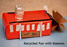 See how Kleenex comes to the rescue during cold and flu season in more ways than one! Learn to make a simple paddle wheel steamboat from a Kleenex box! School Projects, Projects For Kids, Diy For Kids, Crafts For Kids, Glue Crafts, Wooden Crafts, Craft Stick Crafts, Craft Ideas, Robert Fulton