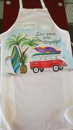 Ποδιά βάφτισης βαμβακερή ζωγραφισμένη στο χέρι,Διακοπες στη Χαβα, ,με χρώματα που δεν ξεβάφουν , κατα παραγγελία σε σχεδιο και κειμενο της επιλογής σας..byDinaD.