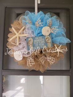 to mesh front decor aqua wreaths pin doors summer everyday coastal wreath door order starfish flamingos made beach burlap