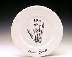 "Bone Appetit 7"" dessert plate : Hand"