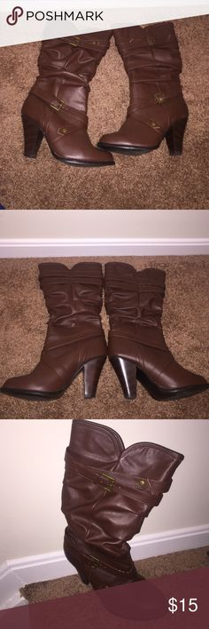 Brown Boots Lightly Scuffed, Brown Boots, Size 9 Shoes Heeled Boots