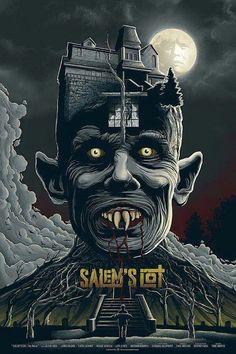 Vampire Movie Poster Art : Salem's Lot 1979 by Mike Saputo Horror Movie Posters, Movie Poster Art, Horror Movie Characters, Poster Drawing, Arte Horror, Horror Art, Films Stephen King, Films D' Halloween, Salem Lot