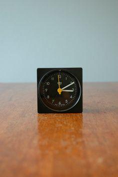 Vintage Braun Ag Clock In Black Alarm Design Projection